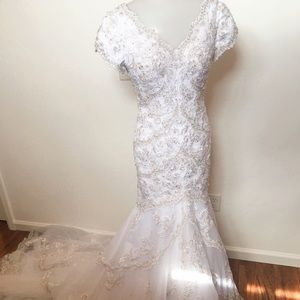 Beaded and lace custom wedding gown